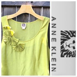 Anne Klein tank top lime chartreuse decorative